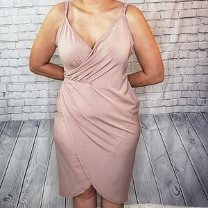 Asos Dusty Pink Faux Wrap Midi Dress